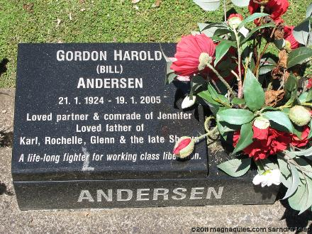 Grave of Gordon Harold ANDERSEN Waikaraka Cemetery, Auckland, New Zealand Photographed 8 February 2011