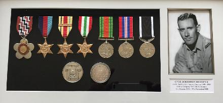 Medals mounted by Julian Cook, Cyril Bradwell's grandson, 2018