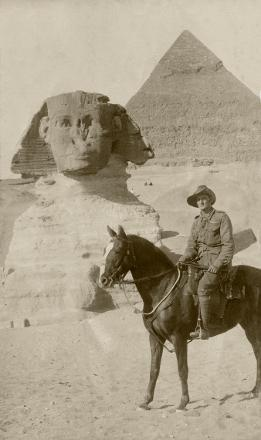 Charles Bateman on horseback in front of Sphinx, Egypt, presumably late 1914 or early 1915 prior to Gallipoli.