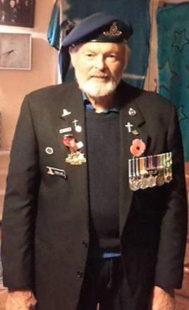 Peter dressed up for Anzac parade in Masterston, New Zealand