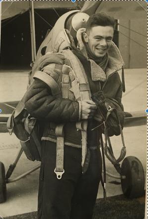 Des in flying gear taken in front of Tiger Moth