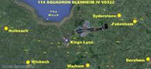 Last Flight Path of RAF Squadron Blenheim IV V6522 - flown by New Zealander Flying Officer Sylvester R. O. Richmond RNZAF NZ/402217. - All rights reserved.