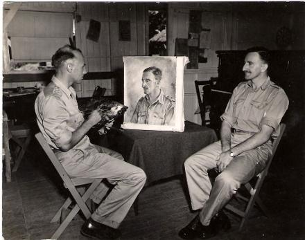 Lt. Barns-Graham working on portrait of medal winner Lt. Leslie Thomas George Booth MC who received the Military Cross during the Vella Lavella campaign.