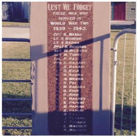 Hinepare Marae War Memorial, Rangitukia..- 2/Lt N Reihana's name appears on this War Memorial