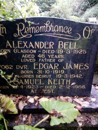 Edgar's memorial, on his father's & brother Samuels  headstone, at Park Island Cemetery, Napier, New Zealand