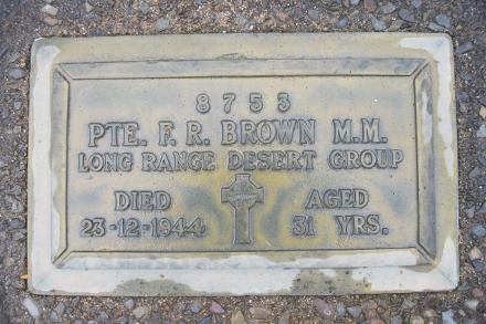 Francis Richard Brown is remembered by this plaque in the Old Cemetery in Te Kuiti.  I had the privilege of visiting his grave with Stephen Walsh, the son of Tom Walsh, one of his Long Range Desert Group colleagues in November 2016.