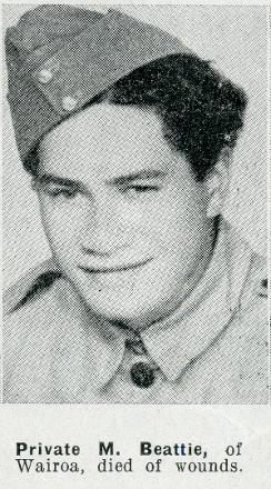 Private M Beattie of Wairoa, died of wounds