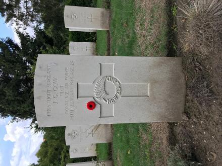 Image of gravestone of J.G. Gow RNZAF taken Sept 2018. Woensel cemetery Eindhoven, the Netherlands.