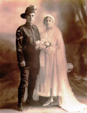 Alan Baldwin (s/n 1082) on his wedding day with his wife Ruby.