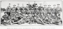 Group portrait of non-commissioned officers of the Auckland Mounted Regiment in Egypt, showing on the back row from the left: Trumpet-Major Munro and Sergeant-Major Innis. Fourth row left to right Sergeants McNeish, McKeown, Thompson, Hoskings, Allsopp, Douglas, Hovey, Brown, Mahood, Budden,Jurd and Regimental Quartermaster Sergeant Purdon. Third row left to right Sergeant Maloney, Sergeant-Majors Marr,Beer, Manners, Milne, Notley and Watts, Sergeants Thomas and Hill and RFQMS Bradshaw. Second row left to right Sergeants Adolph, Hampshaw, Mackesy, Gordon Cecil Leighton, Thorburn and Stokes, Quartermaster Sergeant Foster and Sergeants McGregor, Martin and Douglas. Reclining left to right Sergeants Cullen, Wellington, Williamson and King.  - No known copyright restrictions.