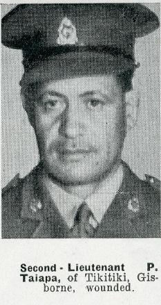 Second-Lieutenant P. Taiapa, of Tikitiki, Gisborne, wounded