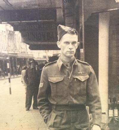 Andrew was in the medical corp. He served in the Middle East. Went missing believed POW on 13.12.41. Found as a prisoner in Italian hands on 17.2.42. Repatriated safe back to Egypt 24.4.43. Andrew spent time in Campo PG 66 and Campo PG 52. Discharged from service 19.6.1945.