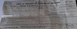 Copy of the original Marriage Certificate. - No known copyright restrictions.