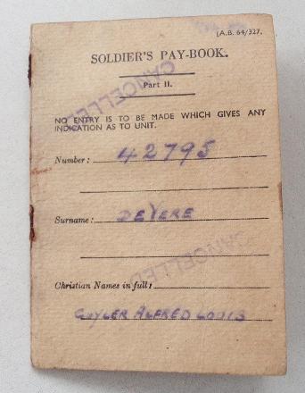 Cuyler Alfred Louis De Vere's Soldier's Paybook 1940.