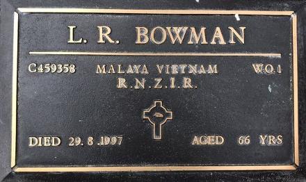 C459358 Lancelot Rex BOWMAN, brass plaque at Pyes Pa Cemetery, Tauranga.