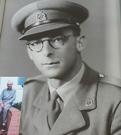This is Ray in his NZASC uniform.  (year unknown).  Insert is Ray approx 1990 (approx 81yrs old).