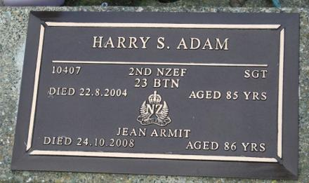 Harry Samuel Adam 25.4.1919 - 22.8.2004 Jean Armit 1922 - 24.10.2008 Invercargill Eastern Cemetery - Soldiers Avenue Ashes, Block 3, Plot 134A