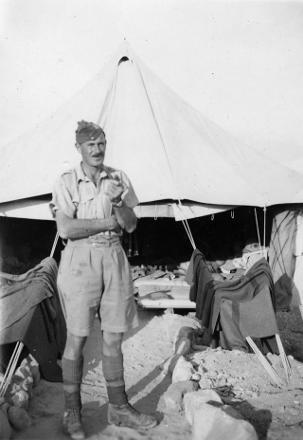 Dick outside his tent in Egypt