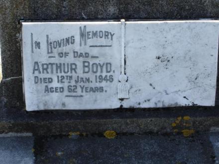 In Loving Memory of DAD ARTHUR BOYD died 12Jan 1948 aged 62 yrs
