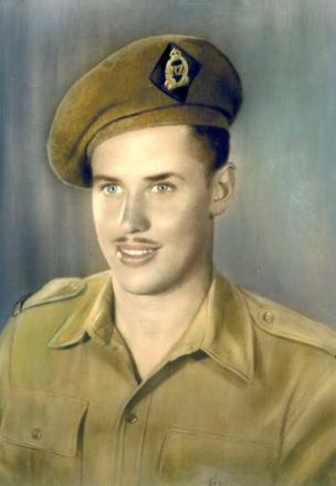 Gordon wearing his WWII Uniform not long after coming back from War
