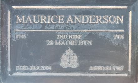 Maurice ANDERSON - buried at Kokohinau (Tuhimata) Marae urupa, 331A Te Teko Road, Te Teko, EBoP 3193. [[-38.00882, 176.81097]]