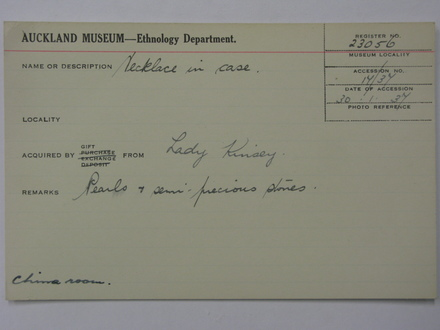 ethnology catalogue card