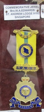 Commemorative Jewel, ROAB, W.A. Edwards, St. Andrews Lodge, Singapore