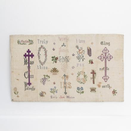sampler, embroidery