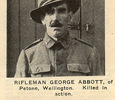 """Portrait, George Abbott, published in """"New Zealand Sporting and Dramatic Review"""" of 27 December 1917, page 22. Provided by John Lynch. - No known copyright restrictions"""