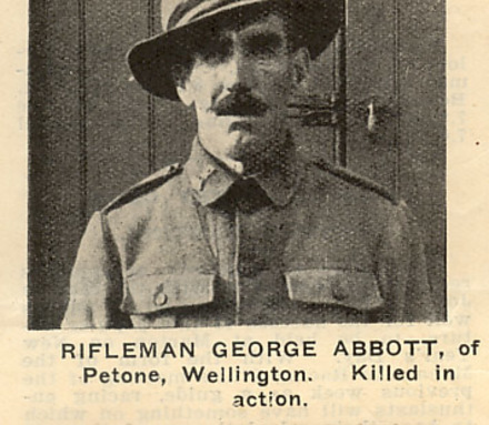 "Portrait, George Abbott, published in ""New Zealand Sporting and Dramatic Review"" of 27 December 1917, page 22. Provided by John Lynch. - No known copyright restrictions"