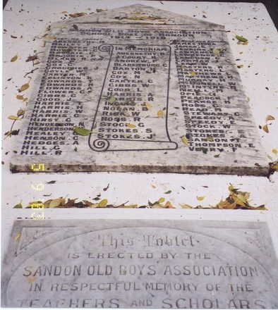 Roll of Honour, new Sandon School, and dedication tablet erected by Sandon Old Boy's Association (photo G. Fortune) - Image has All Rights Reserved