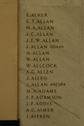 Auckland War Memorial Museum, World War 1 Hall of Memories Panel Alker E. - Aitken J. (photo J Halpin 2010) - No known copyright restrictions