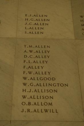 Auckland War Memorial Museum, World War 1 Hall of Memories Panel Allen E.J. - Allwill J.R. (photo J Halpin 2010) - No known copyright restrictions