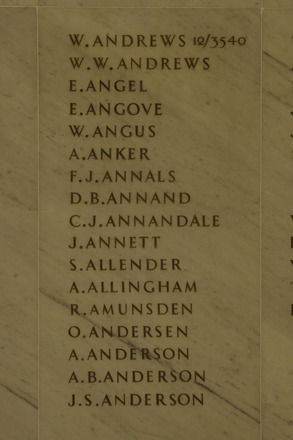 Auckland War Memorial Museum, World War 1 Hall of Memories Panel Andrews W. - Anderson J.S. (photo J Halpin 2010) - No known copyright restrictions