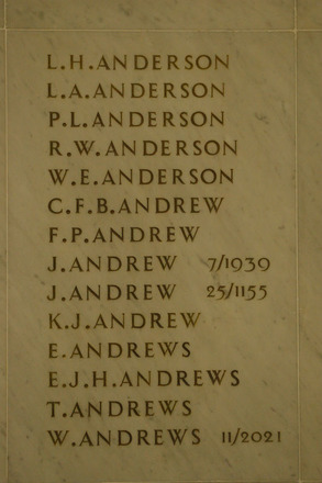 Auckland War Memorial Museum, World War 1 Hall of Memories Panel Anderson L.H. - Andrews W. (photo J Halpin 2010) - No known copyright restrictions