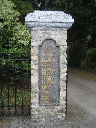 Names panel, left, Memorial gates, Greytown Soldiers Memorial Park (photo G.A. Fortune 2012) - Image has All Rights Reserved