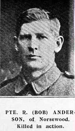 Portrait of Private Robert Andersen (incorrectly spelt Anderson). Auckland Weekly News 1916 - No known copyright restrictions