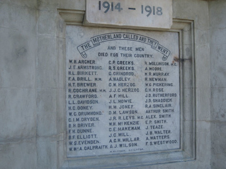 Name panel, Brooklyn War Memorial, Wellington (photograph G Fortune 2010) - Image has All Rights Reserved