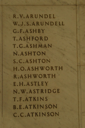 Auckland War Memorial Museum, World War 1 Hall of Memories Panel Arundel R.V. - Atkinson C.C. (photo J Halpin 2010) - No known copyright restrictions