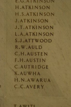 Auckland War Memorial Museum, World War 1 Hall of Memories Panel Atkinson H. - Avery C.C. (photo J Halpin 2010) - No known copyright restrictions