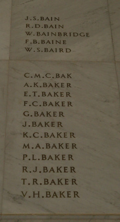 Auckland War Memorial Museum, World War 1 Hall of Memories Panel Bain J.S. - Baker V.H. (photo J Halpin 2010) - No known copyright restrictions