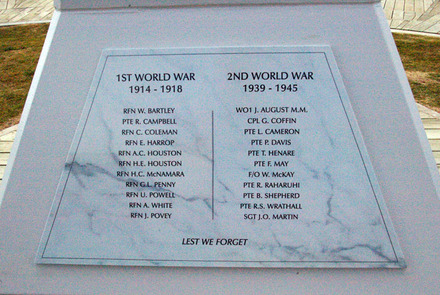 Mangonui (Cenotaph) War Memorial, Roll of Honour (photo J. Halpin 2011) - No known copyright restrictions