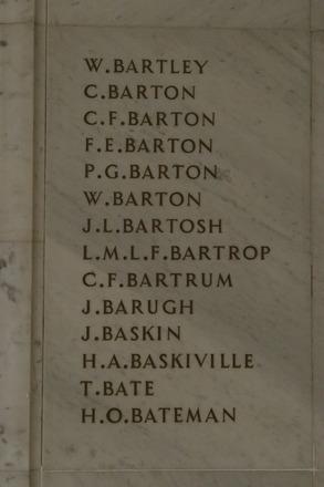 Auckland War Memorial Museum, World War 1 Hall of Memories Panel Bartley W. - Bateman H.O.  (photo J Halpin 2010)