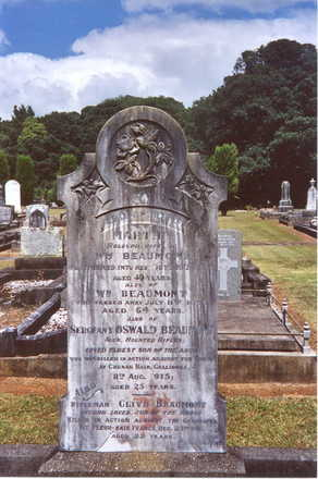 Family grave memorial, Maunu Cemetery, Whangarei : Oswald Beaumont (13/166), killed at Gallipoli and Clive Beaumont (15862) killed in France. - No known copyright restrictions