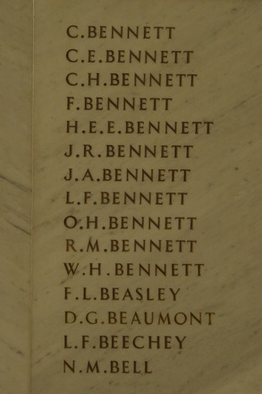 Auckland War Memorial Museum, World War 1 Hall of Memories Panel Bennett C. - Bell N.M. (photo J Halpin 2010) - No known copyright restrictions
