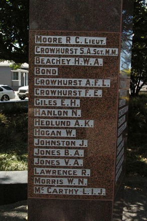 World War 1 Name panel, Newmarket War Memorial, Newmarket, Auckland (photo John Halpin, 28 May 2011) - CC BY John Halpin