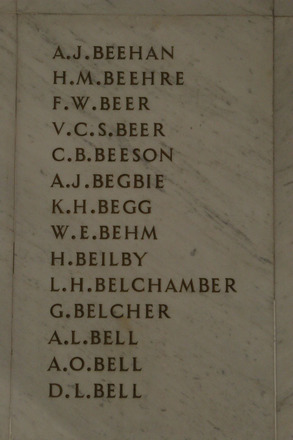 Auckland War Memorial Museum, World War 1 Hall of Memories Panel Beehan A.J. - Bell D.L. (photo J Halpin 2010) - No known copyright restrictions