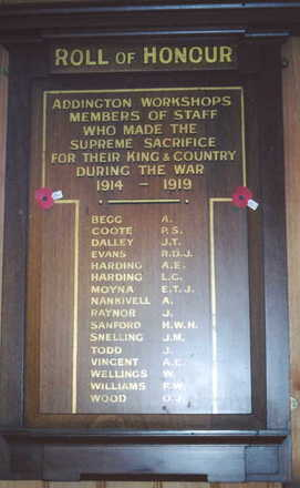 Roll of Honour at Ferrymead, Christchurch. The inscription reads: Addington Workshops, Members of Staff, who made the supreme sacrifice for their King and Country during the war, 1914-1919. (Photo G.A. Fortune 2004) - Image has All Rights Reserved