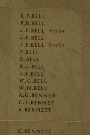 Auckland War Memorial Museum, World War 1 Hall of Memories Panel Bell E.F. - Bennett A. (photo J Halpin 2010) - No known copyright restrictions
