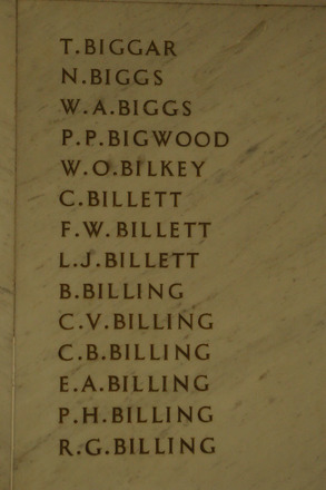 Auckland War Memorial Museum, World War 1 Hall of Memories Panel Biggar T. - Billing R.G. (photo J Halpin 2010) - No known copyright restrictions
